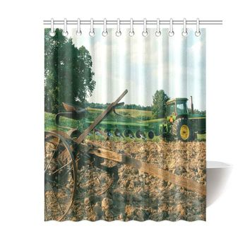 """Farm Tractor Background Shower Curtain 60""""x72"""""""