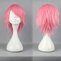 32cm Short Bleach Szayel AporroGranz PINK Anime Cosplay Wig synthetic short wig,Colorful Candy Colored synthetic Hair Extension Hair piece 1pc WIG-263A
