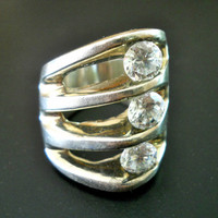 Solid Sterling Silver Ring Modernist CZ Mexico Heavy 26.1 gms, sz 6