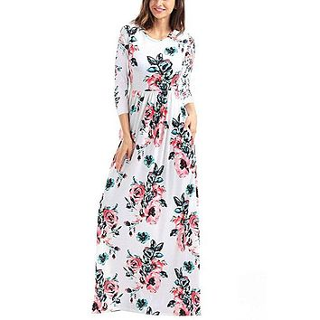 Chicloth Classic Floral Print White 3/4 Sleeve Maxi Dress