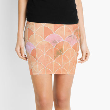 'Mermaid scales. Peach and pink watercolors.' Mini Skirt by VanGalt