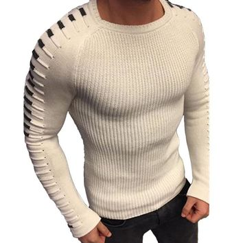 Laamei Autumn Winter Sweater Men 2018 New Arrival Casual Pullover Men Long Sleeve O-Neck Patchwork Knitted Solid Men Sweaters