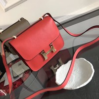 HERMES Women Leather Shoulder Bag Satchel Tote Handbag Shopping Leather Tote Crossbody Satchel Shoulder Bag