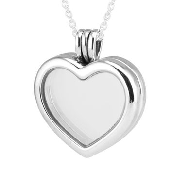 Fits Petite Charms CKK 925 Sterling Silver Jewelry Heart Floating Locket Pendant with Necklace for Women DIY Making FLN033