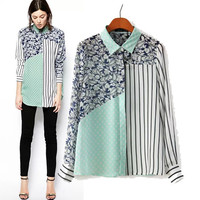 Stylish Print Patchwork Stripes Long Sleeve Chiffon Women's Fashion Tops Shirt [5013372036]