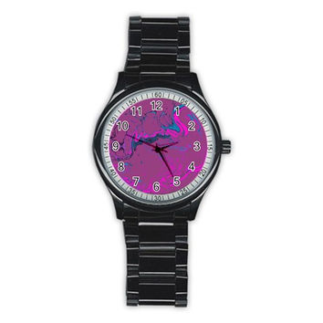 Unique Marbled 2 Hot Pink Stainless Steel Round Watches