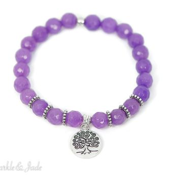 Faceted Purple Jade Natural Stone Stretch Bracelet with Tree of Life Charm