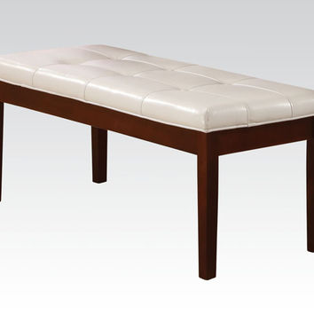 Britney collection walnut finish wood dining / bedroom bench with white faux leather upholstery