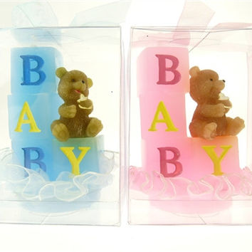 Baby Shower Party Favor - Boy or Girl Teddy Bear Baby Blocks, Light Pink