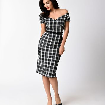 Vintage 1950s Style Black & White Tartan Plaid Fatale Wiggle Dress