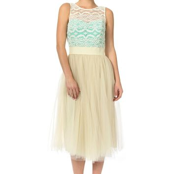 Teeze Me | Sleeveless Lace Tank Elastic Waist Midi Dress  | Natural/Fresh Mint