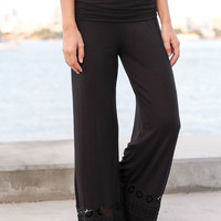 Black Palazzo Pants with Crochet Detail