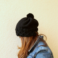 Women's Knit Hat Winter Hat Slouchy Beanie Pompom Hat -  Black Beret / Chunky / Beret /Baggy / Beanie