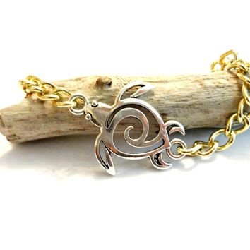 Gold and Silver Sea Turtle Bracelet