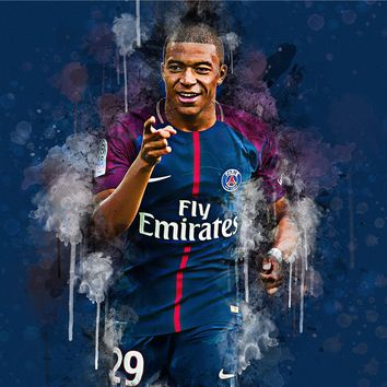 Sport Poster Abstract Painting Kylian Mbappe Layvin Lurzawa Canvas Art Wall Pictures for Living Room Cuadros Paris Football