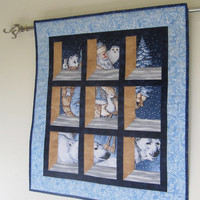 Santa is on his way -- Quilted Christmas Wall Hanging