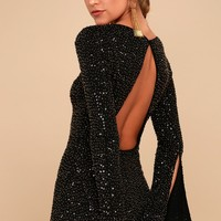 Smyth Bronze and Black Sequin Long Sleeve Mini Dress