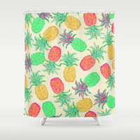 Pineapple Pandemonium (multicolor) Shower Curtain by Lisa Argyropoulos