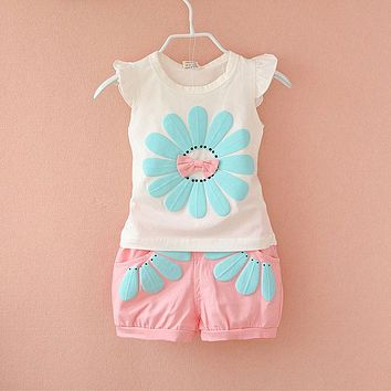 Detail 2017 Summer Newborn Infant Baby Girls Clothes Casual Sports Brand Printed Tracksuits For Baby Girls Clothing Outfits Sets
