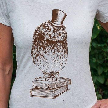 Book Owl - women's dapper owl t-shirt - shakespeare bird shirt