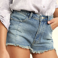 Brighten Your Day Light Wash Cutoff Denim Shorts