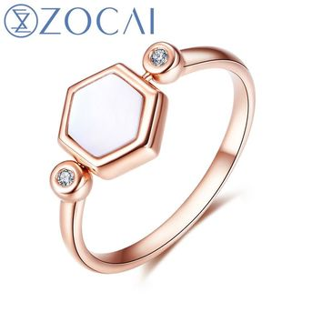 ZOCAI Brand Ring The Honeycomb Series Real 0.01 CT Diamond Ring with White Shell 18K Rose Gold (Au750) JBW90228T