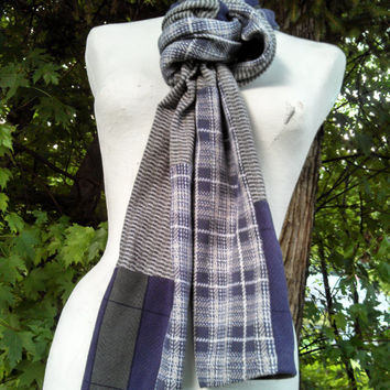 T Shirt Scarf / Upcycled Cotton Polo Shirts / Blue Grey  Green Plaid Textured Cozy Scarf /