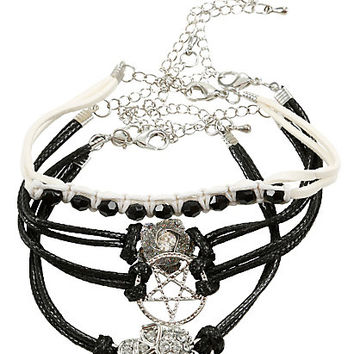 Blackheart Skull Rose & Pentagram Bling Cord Bracelet Set