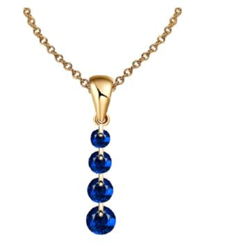 Crystal Long Water Drop Pendant Statement Necklace for Women (Blue)