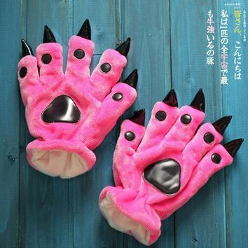 Furry Gloves With Claws - Cat Paw Gloves Great For Cosplay