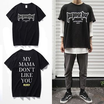 Justin Bieber Fear Of God Purpose Tour T Shirt Men/Women My Mama Dont Like You Letter Printed Tops Tee Hip Hop Streetwear