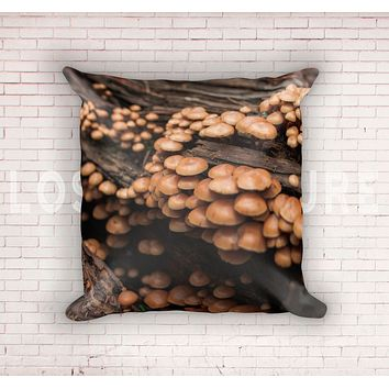 Mushroom Cluster on Redwood Throw Pillow Cover- 5 Sizes