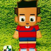 Costa Rica football soccer craft activity. Printable paper toy. Instant download. Make you own cards, banners and football soccer bunting!