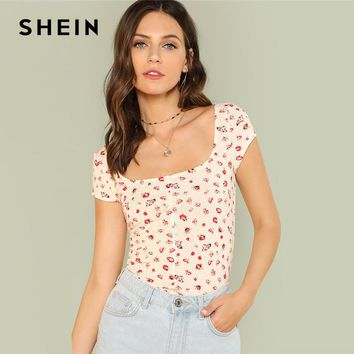 SHEIN Calico Print Skinny Tee 2018 Summer Square Neck Cap Sleeve Crop Top Girls Preppy Beige Youthful T-Shirt