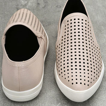 Perla Nude Perforated Slip-On Sneakers