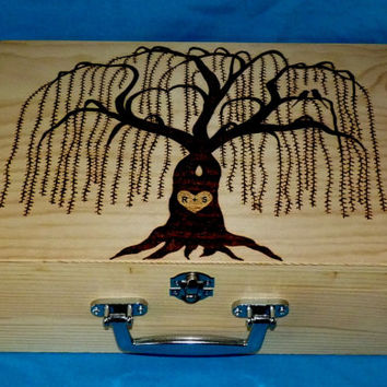 Decorative Large Wooden Wedding Card Box Wood Burned Suitcase  Wedding Willow Tree Keepsake Guest Book Box Personalized Bridal Shower Gift