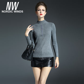 Nordic winds 2016 winter christmas women's pullovers stand-up collar long sleeve button decoration bodycon knitted sweater