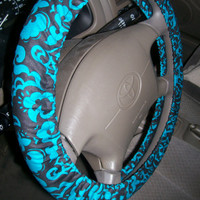 Turquoise and Black Lace Steering Wheel Cover