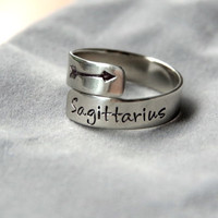 Zodiac Ring - Handstamped Sterling Silver - Adjustable