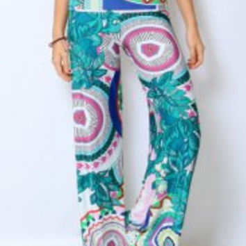 Multi Color Mid-Waisted Printed Pants