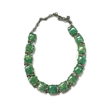 1950s Necklace, Vintage Signed Coro Green Confetti Lucite Adjustable Choker Necklace