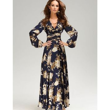 2018 maxi dress women long Sleeve  v long dress floral print plus size dark blue  party casual spring long dress hot sale spring