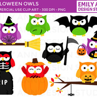 Owls Halloween Spooky Witch Skeleton Bat Pumpkin Zombie Cute Clip Art - trick or treat candy - Commercial Use