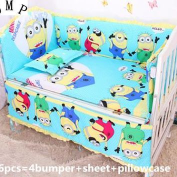 Promotion! 6pcs Minions Baby Cot Crib Bedding set for girl and boys ,include (bumpers+sheet+pillow cover)