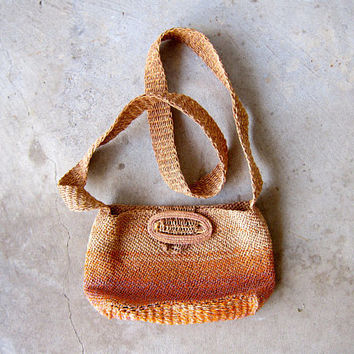 Natural hand woven market bag Orange Pink Straw Purse cross body shoulder bag Bohemian woven RAFFIA HOBO BAG Earthy Hippie Boho ethnic bag