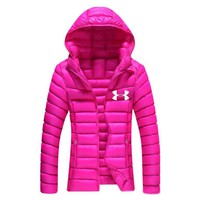 """Under Armour""Newest Winter Fashion Women Casual Brief Paragraph Sport Light Thin Outdoor Hooded Zipper Cardigan Sweatshirt Down Jacket Coat Windbreaker Rose Red I13874-1"