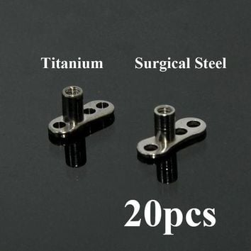 ac ICIKO2Q 20pcs G23 Titanium & Surgical Steel Micro Dermal Anchor Skin Diver Base Surface Piercings Retiners Hide-it Body Jewelry