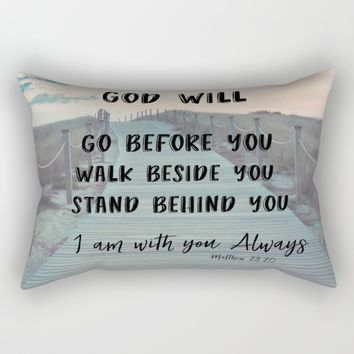 I Am with you Always Bible Verse with Quote Rectangular Pillow by Quote Life Shop
