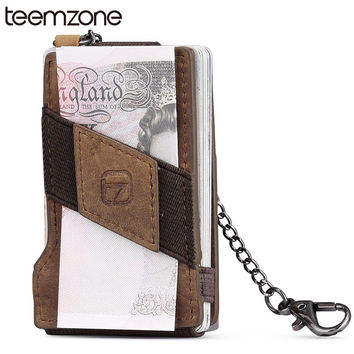teemzone RFID Blocking Fashion Men's Crazy Horse Leather 8-13 Credit Card ID Holder with Elasticity Money Clip Wallet Brown K358
