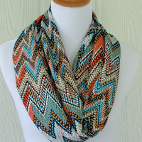 Tribal Print Infinity Scarf, Chevron, Teal and Coral, Circle Scarf, Loop Scarf, Tube Scarf , Women's Scarves, Eclectasie